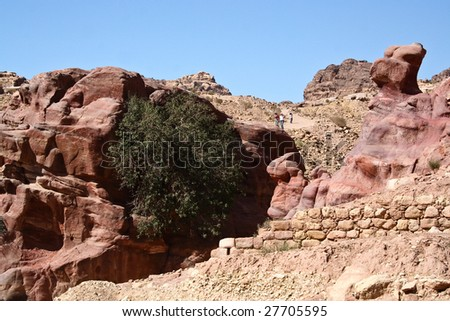 Tomb town Petra, Jordan. Made by digging a holes in the rocks. Roman Empire period. - stock photo