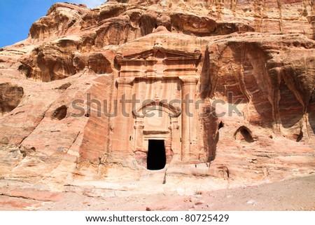 Tombs in Wadi al-Farasa valley, Petra, Jordan - stock photo