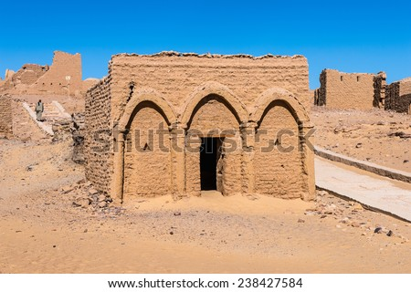 Tombs of the Al-Bagawat (El-Bagawat), an ancient Christian cemetery, one of the oldest in the world, Kharga Oasis, Egypt