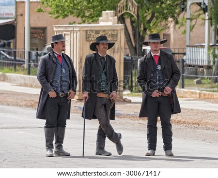 TOMBSTONE , ARIZONA - May 11 : Actors take part in the Re-enactment of the OK Corral gunfight in Tombstone , Arizona on May 11, 2015.