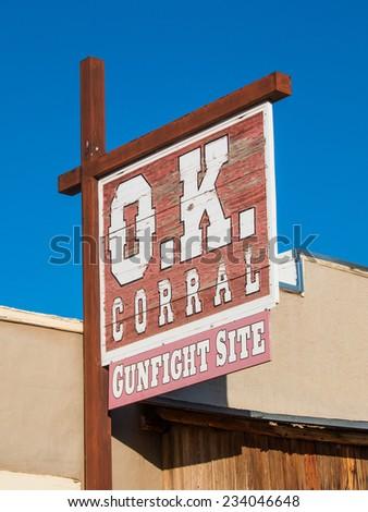TOMBSTONE, ARIZONA - NOV 15, 2014: The sign for Historic OK Corral in Tombstone, Arizona. - stock photo