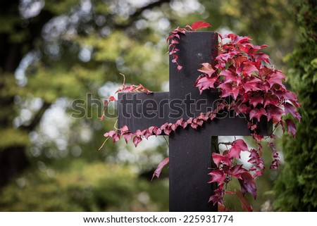 Tombstone in a graveyard during autumn - stock photo