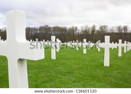 Tombstone in a War Memorial cemetery The US Military Cemetery and Memorial for WW1 and WW 2 in Luxembourg - stock photo