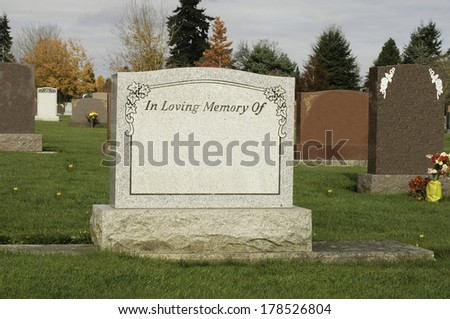 Tombstone in the Cemetery - stock photo