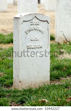 Tombstone of an unknown U S Soldier - stock photo