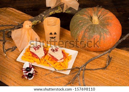 Tombstone sandwiches, a funny idea for a kid Halloween meal - stock photo