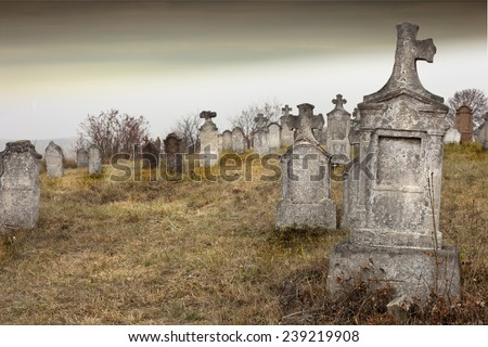 Tombstones in a very old cemetery, Hungary.