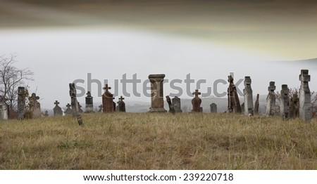 Tombstones in a very old cemetery, Hungary.  - stock photo