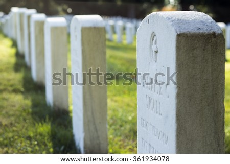 Tombstones of Civil War soldiers at the Gettysburg National Cemetary.  -CIRCA OCT 2015 - GETTYSBURG, PA-
