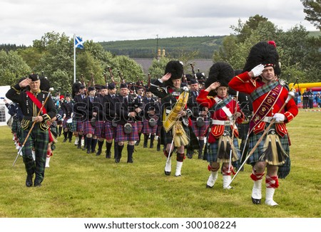 TOMINTOUL, MORAY, SCOTLAND - 18 JULY: This is a scene within the 170 year old Highland Games at the public park of Tomintoul in Moray, Scotland on 18 July 2015.