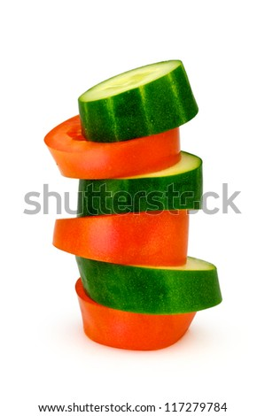 Tomotao an cocumber slice one on each other - stock photo