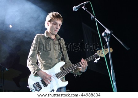 "TOMSK, RUSSIA - JUNE 28: Egor Timofeev - russian singer and musician, leader of the pop-rock group ""Multfilmy"" in the tour around Siberia, June 28, 2009 in Tomsk, Russia."