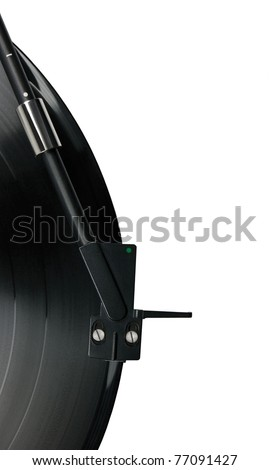 Tonearm on vinyl LP record and black green dot pickup headshell, isolated hi-fi record player tone arm macro closeup - stock photo