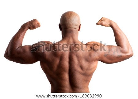 Toned and ripped lean muscle fitness body builder flexing. - stock photo