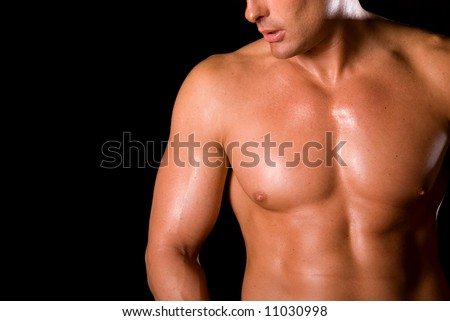 Toned chest. - stock photo