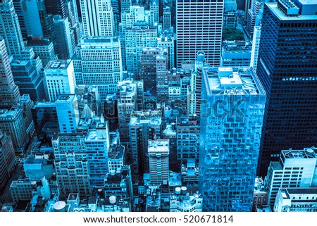 Toned cityscape of Many buildings across New York City