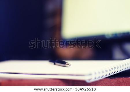 toned man hand write pen paper - stock photo