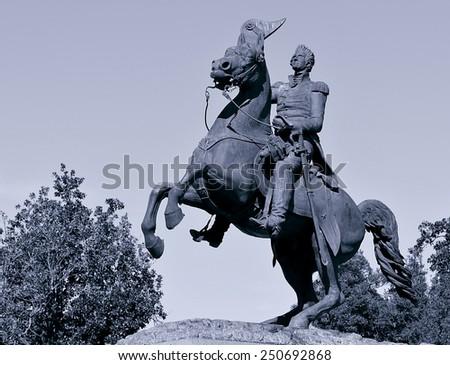 Toned monotone image of General Andrew Jackson on horseback in Jackson Square in the New Orleans French Quarter. - stock photo