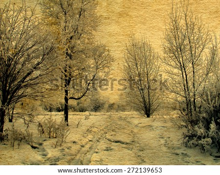 Toned Photo of old vintage photo of winter landscape
