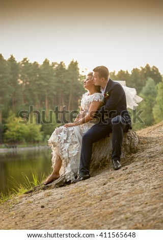 Toned photo of romantic bride and groom sitting on old log and looking at river - stock photo