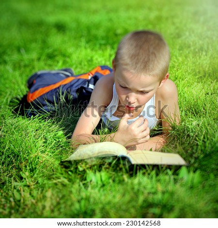 Toned Photo of Serious Little Kid reads a Book on the Summer Meadow - stock photo