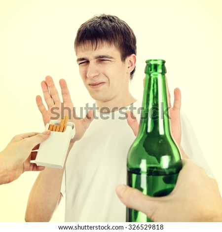 Toned Photo of Young Man Disclaim a Cigarettes and the Alcohol