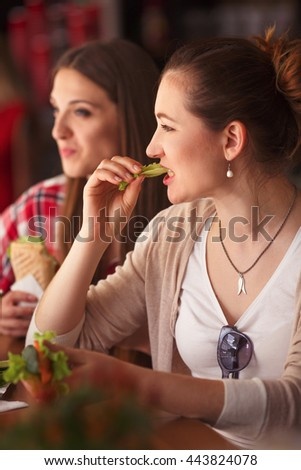 Toned picture of beautiful vegetarian lady eating vegetarian sandwich or snack in cafe or restaurant. Pretty woman spending free time with best friend. - stock photo