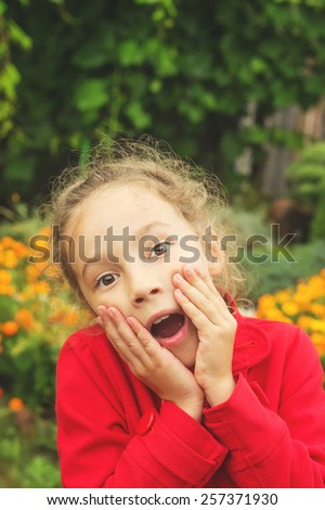 Toned portrait anxious young girl.  With place for text - stock photo