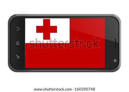 Tonga flag on smartphone screen isolated on white