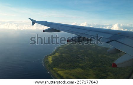 Tongatapu island from airplane, Tonga - stock photo