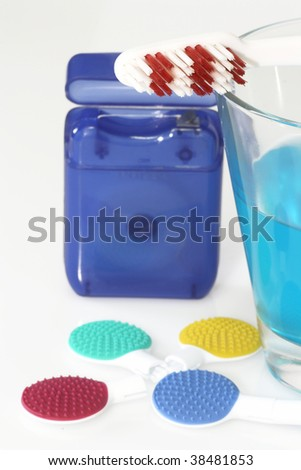 Tongue cleaner and dental care products in detail