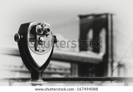toning of the Brooklyn Bridge in black and white - stock photo