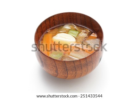Tonjiru-Miso soup with pork and vegetables  - stock photo