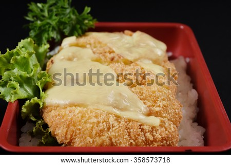 Tonkatsu cheese - Japanese breaded deep fried pork cutlet (tonkatsu) served with steamed rice