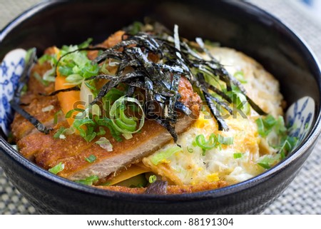 Tonkatsu with rice and egg - stock photo