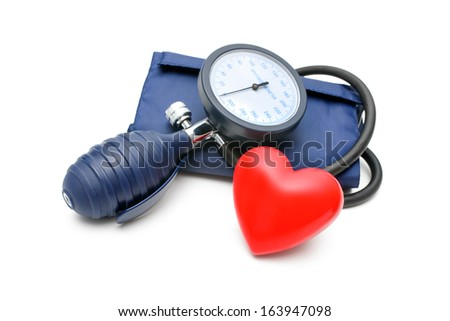 tonometer and heart isolated on white background - stock photo