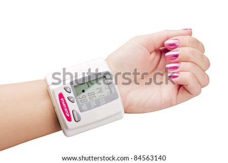 tonometer on hand to measure the pressure - stock photo