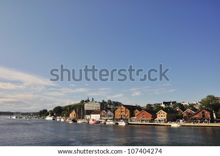 Tonsberg waterfront, Brygge, with restaurants, South Norway - stock photo