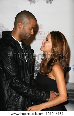 "Tony Parker and Eva Longoria Parker  at the Rally For Kids With Cancer ""The Qualifiers"" Celebrity Draft Party, Roosevelt Hotel, Hollywood, CA. 10-22-10"
