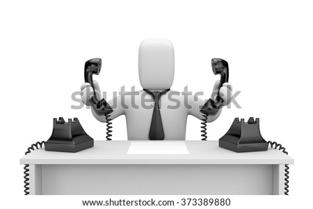 Too many calls, person at work - stock photo
