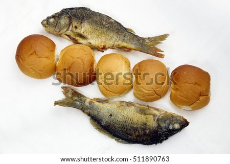 Five loaves and two fish stock images royalty free images for Two fish five loaves