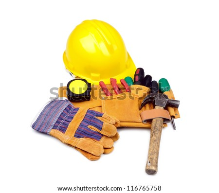 Tool belt with hardhat and protective gloves on white background - stock photo
