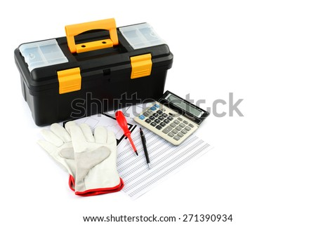 Tool box, calculator, pencil, screwdriver and coarse leather gloves on plans and sheet number on white background - stock photo