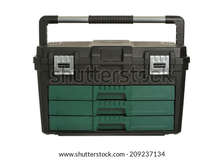 Tool box on white background - stock photo