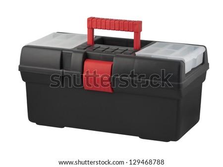 Tool box with carrying handle isolated on white background. - stock photo