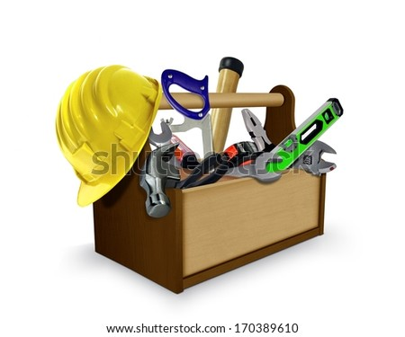 Tool box with Tools and Protective Helmet - stock photo