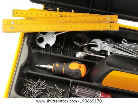 Tool box with tools close-up - stock photo