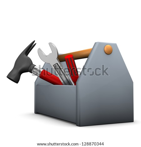 Tool box with wrench, hammer and screwdriver.