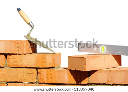 Tool for laying and bricks for construction - stock photo