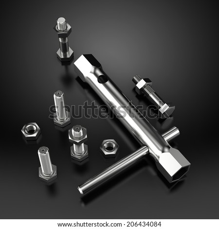 Tool Kit with bolts and screws on black reflective background - stock photo